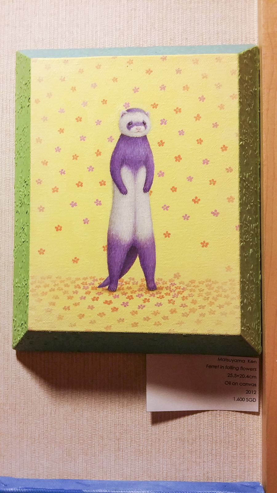 Ferret in Falling Flowers by Matsuyama Ken, oil on canvas at the Bank Art Fair 2014 in Singapore.