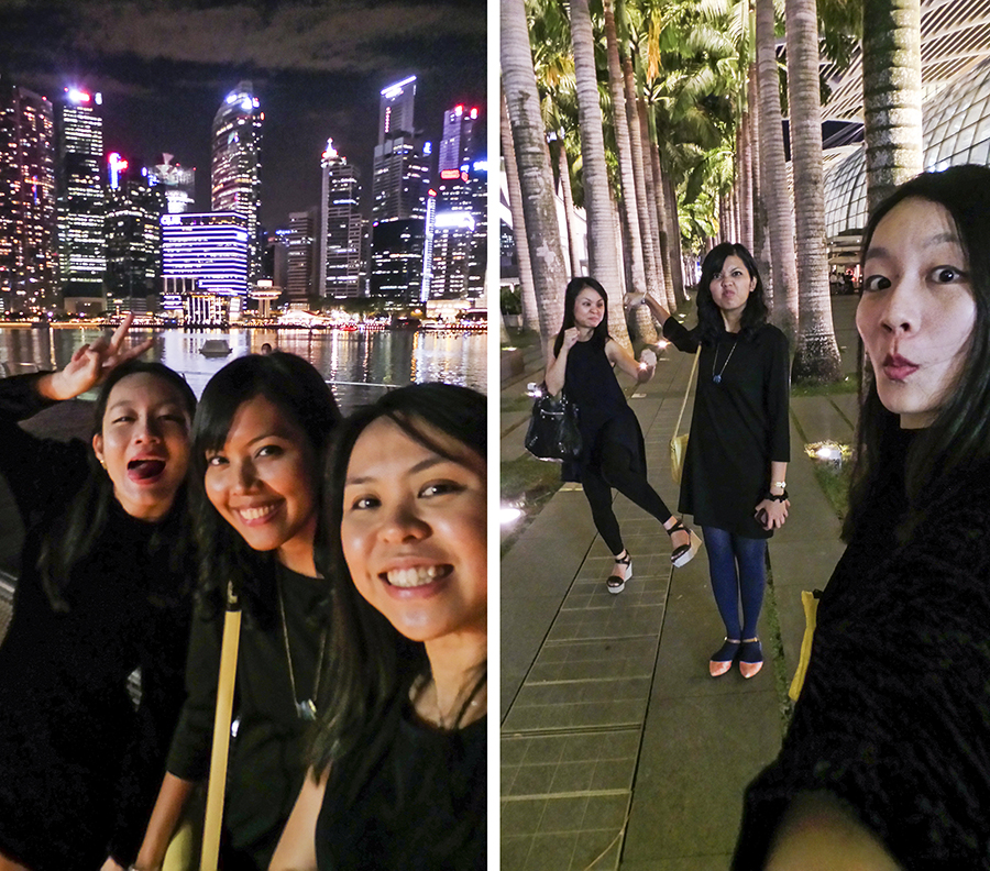 Ren, Shasha, and Ruru selfies against the Singapore skyline at night. Photos by Ruru.