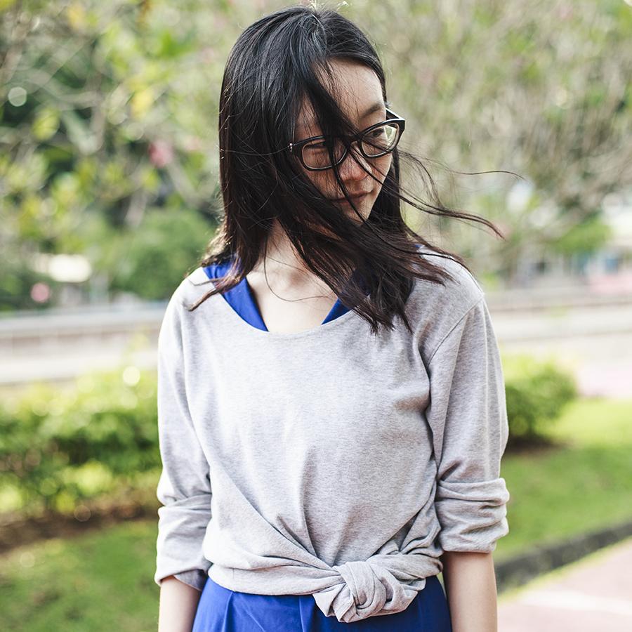 Outfit details: CLub Marc oversized boyfriend sweater, Passport Love blue dress, Gap black frame glasses.