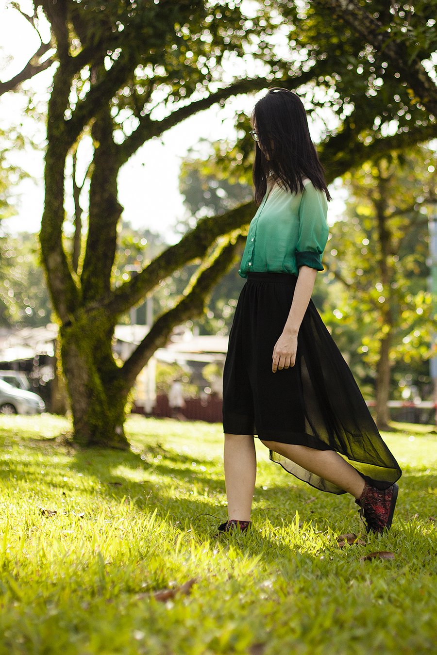 Gradient green chiffon shirt from Romwe, black chiffon skirt from Forever 21, black frame glasses from Gap, red high top sneakers from Puma x McQ via Shopbop, red matryoshka earrings.