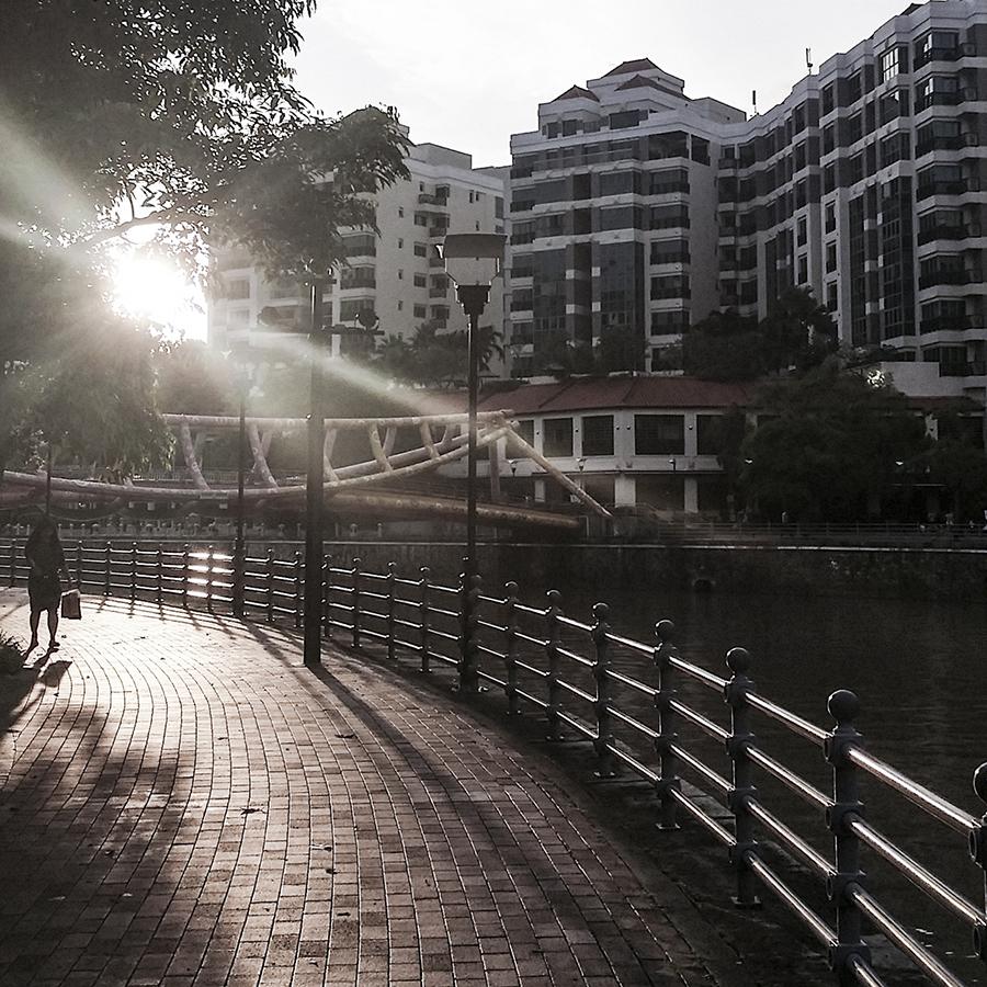 Sunset at Robertson Quay, Singapore.