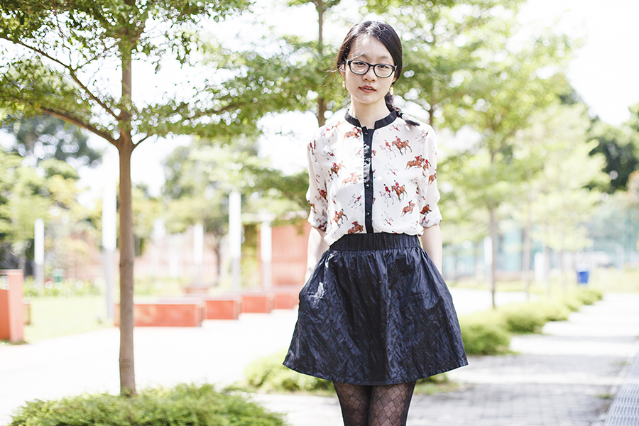 YRBFashion horse print chiffon blouse via Chictopia Connect, M)phosis black metallic skirt, black pattern sheer tights, Gap black frame glasses.