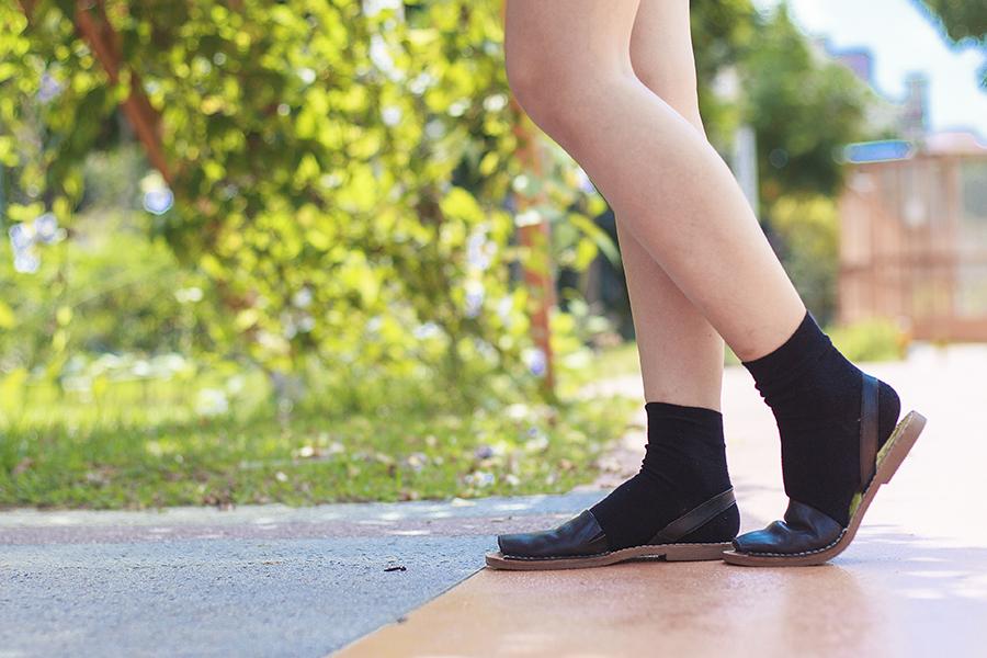 Taobao black socks, Sam Edelman slingback sandals c/o Shopbop.
