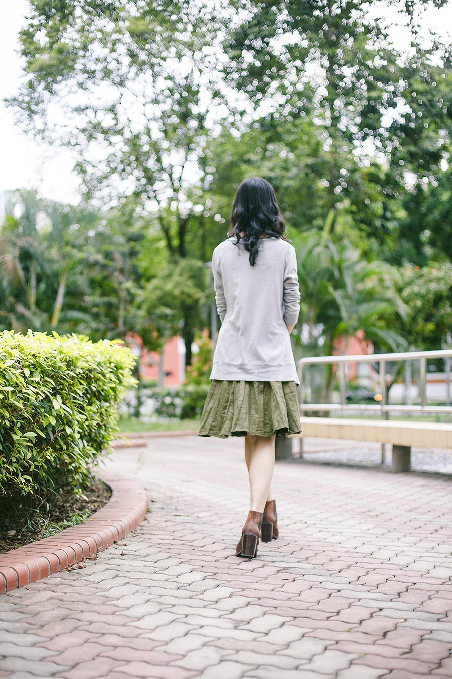 Outfit: EMart grey bratop, Bugis Street green skirt, Gap black frame glasses, Jeffrey Campbell Cash brown heel boots via Chictopia Shop..