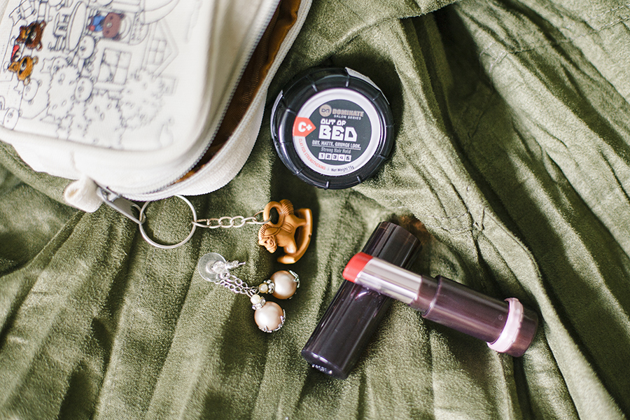 Etude House red lipstick, Dominate Salon Series Out of Bed hair clay, imitation pearl earrings, Happy Memorial Sky embroidered pouch from Takashimaya.