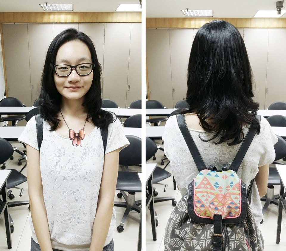 Front and back of my new permed-hair look at Kimage Hair Salon.