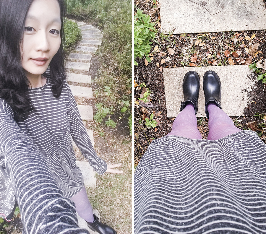 Selfie of striped purple and grey outfit.