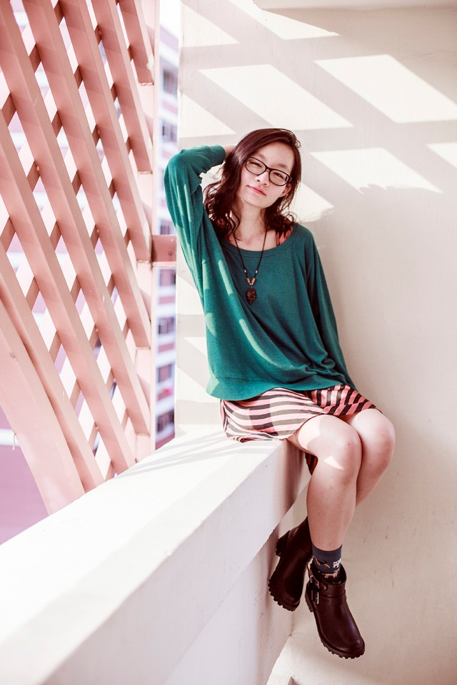 American Apparel Teal knit pullover, Agate necklace from Natural History Museum in Washington DC, Gap black frame glasses, Forever 21 orange striped dress, dog teal socks from Taobao, Dav rain booties.