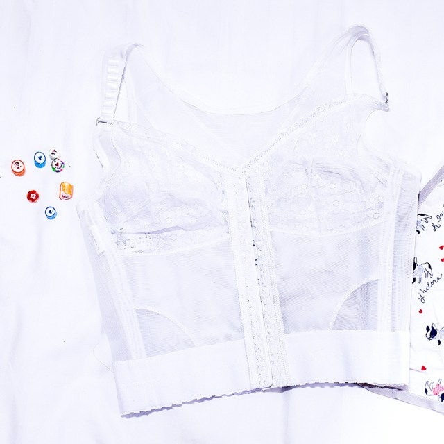 Vedette Shapewear white lace corset, French Terrier puppies panties from Forever 21.