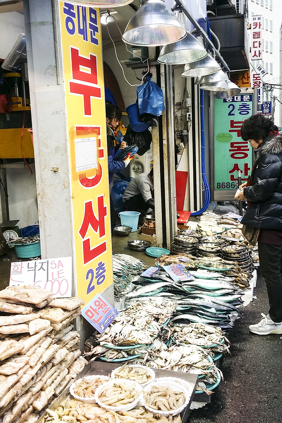 Fish store on the streets of Dongdaemun, Seoul, South Korea.
