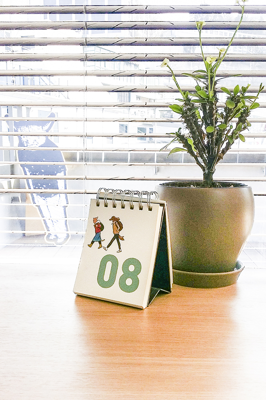 Cute calendar and plant on a reading desk at the library in Seoul Comics Space Zaemirang at Zaemiro Seoul Comics Road, South Korea.