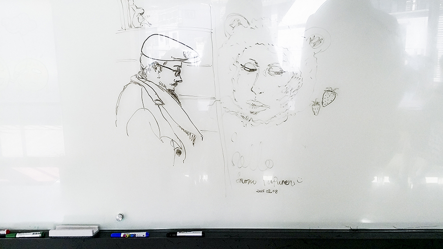Drawings on the whiteboard at the library in Seoul Comics Space Zaemirang at Zaemiro Seoul Comics Road, South Korea.