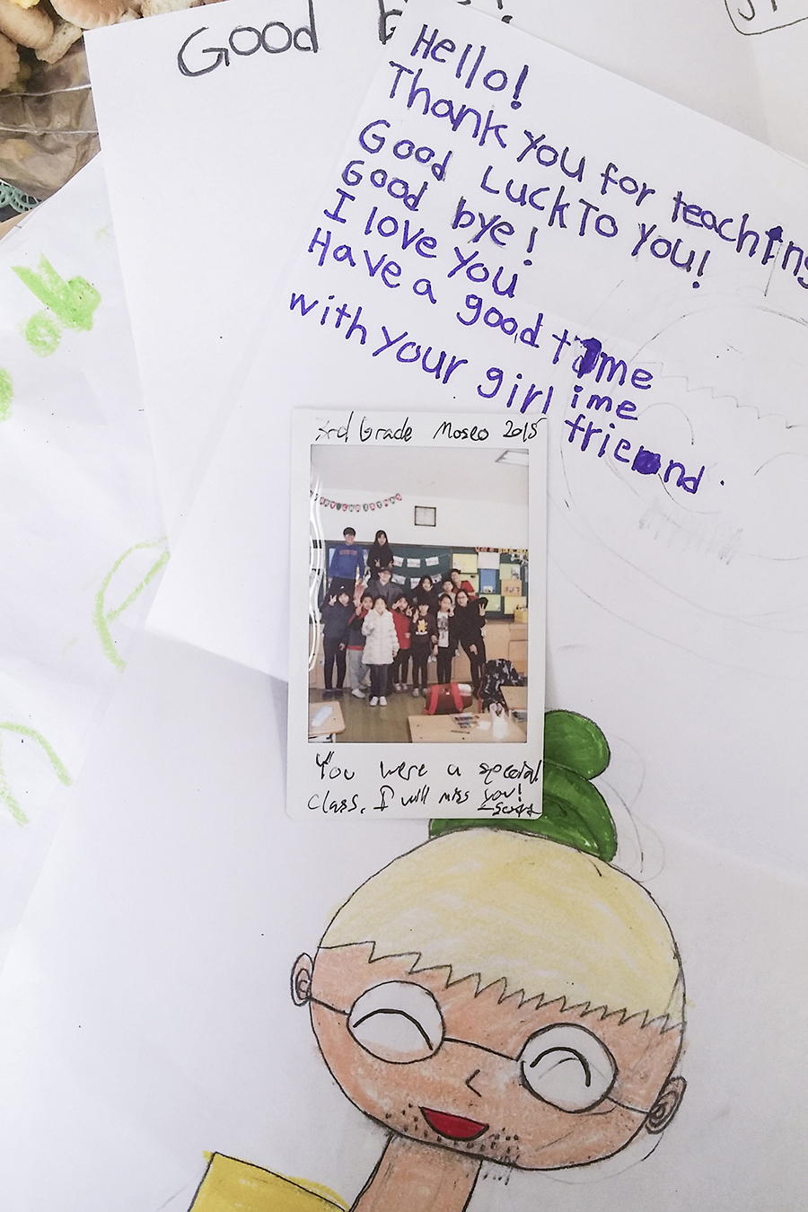 Farewell notes from elementary kids in Sangju, South Korea.