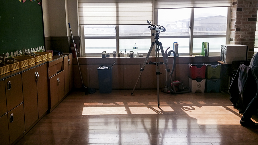 Telescope at the back of a classroom in an elementary school in Sangju, South Korea.
