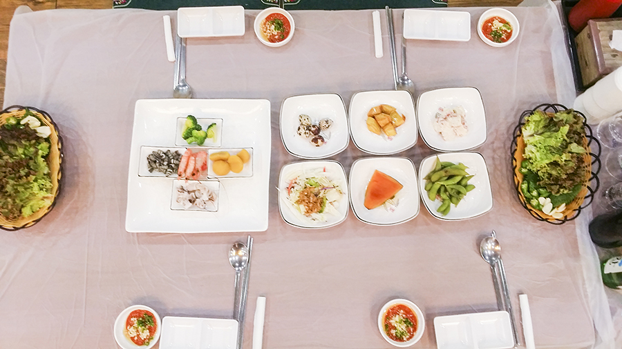Feast at the teacher's dinner.