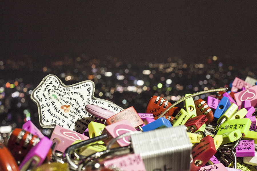 Love locks and messages atop Namsan Tower, Seoul, South Korea.
