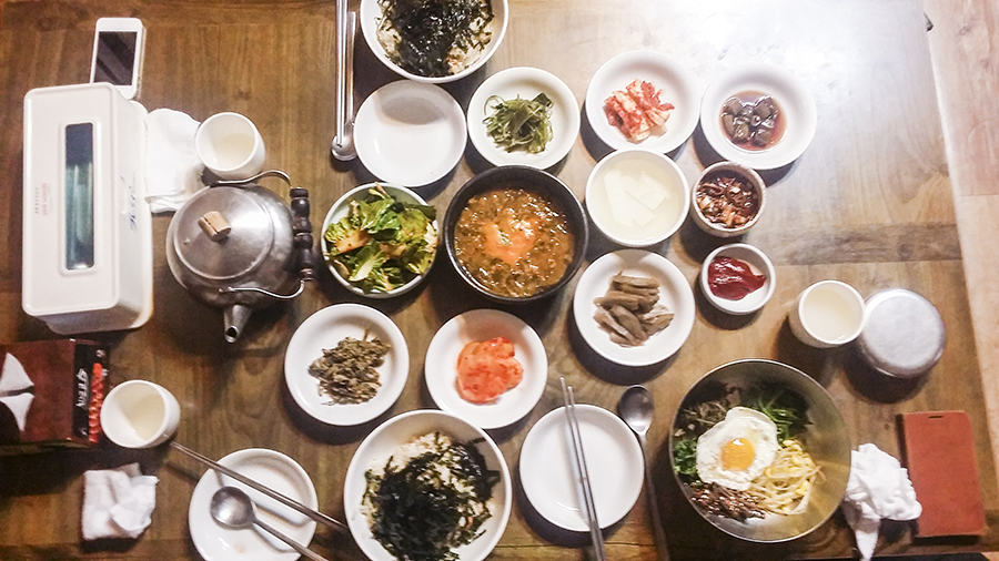 Feast for dinner with HaeY-sem in Sangju, South Korea.