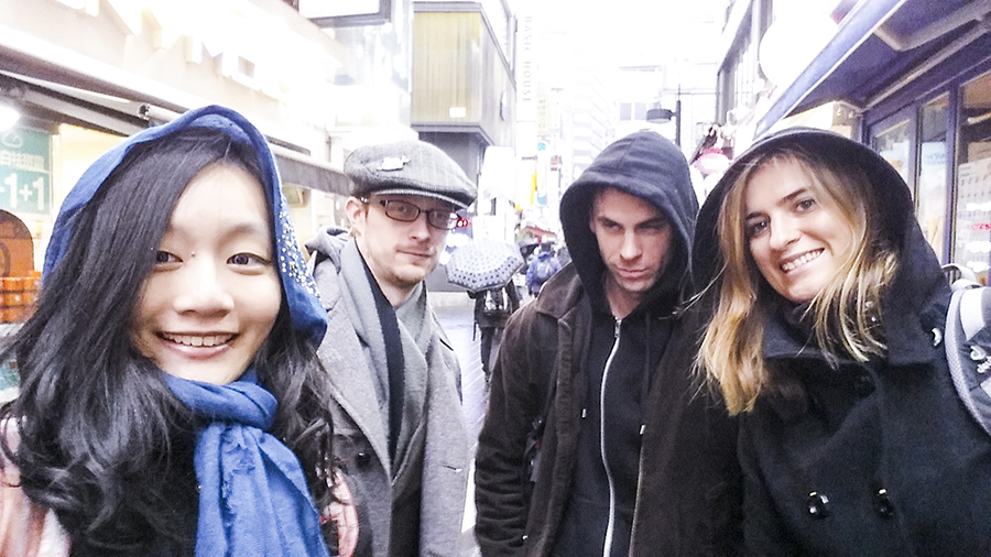 Wefie in the rain with Ottie, Ant and Philli in Myeongdong, Seoul, South Korea.
