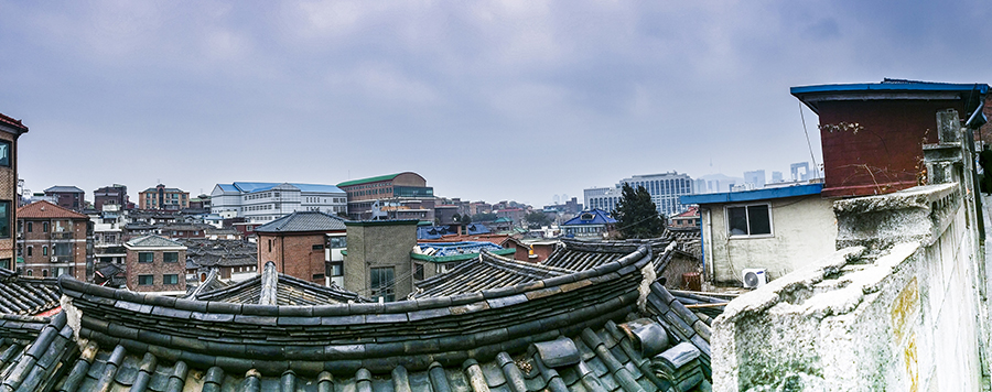 Panoramic view of Bukchon, South Korea.