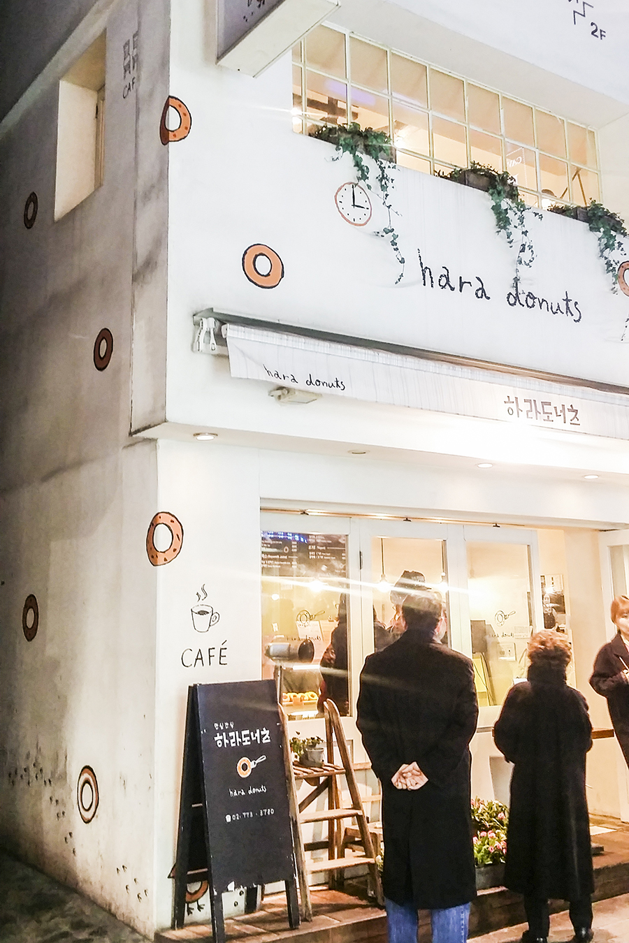 Cute exterior of Hard Donuts, a cafe in Myeongdong, Seoul, South Korea.