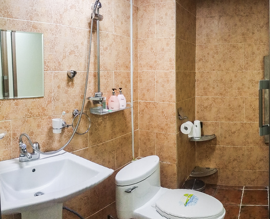 Panoramic view of the bathroom in Hotel Bonbon in Myeongdong, Seoul, South Korea.