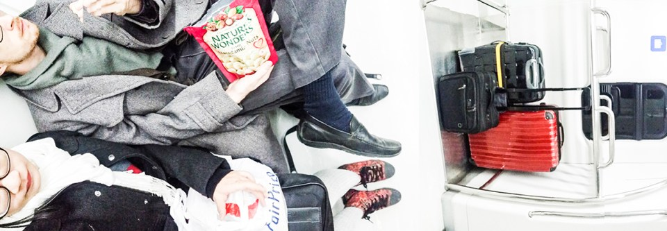 Panoramic view of Ottie and Ren on the train to Incheon Airport, South Korea.