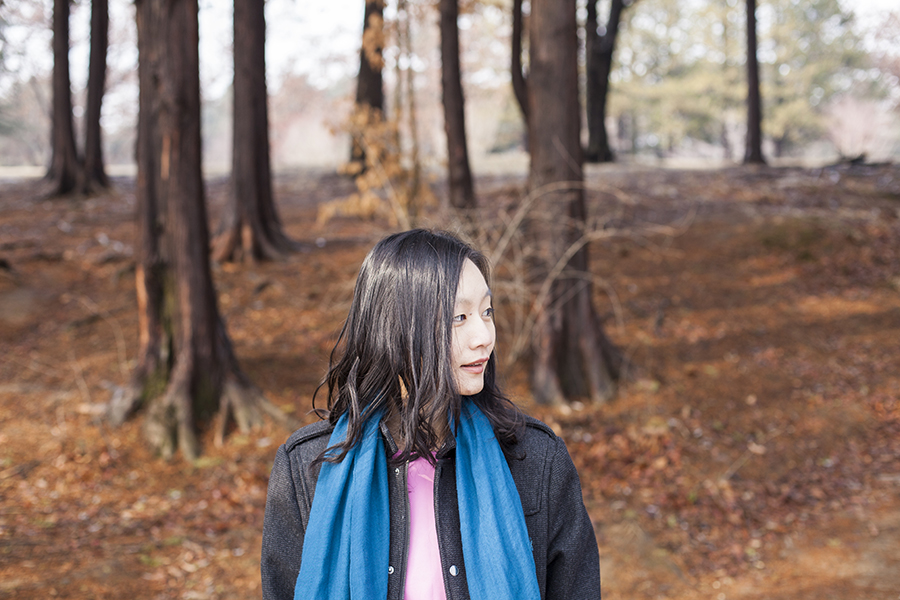 Outfit at Nami Island: Viparo pink leather jacket, Marshalls blue shawl, H&M grey men's coat.