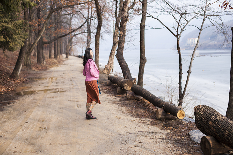Outfit at Nami Island: Uniqlo grey bratop camisole, Viparo pink lambskin leather jacket with gold zipper, Forever 21 long rust cardigan, Urban Outfitters floral lace tights.