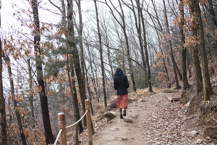 Ren walking in along a path in the woods at Le Petit France, Gapyeong, South Korea.