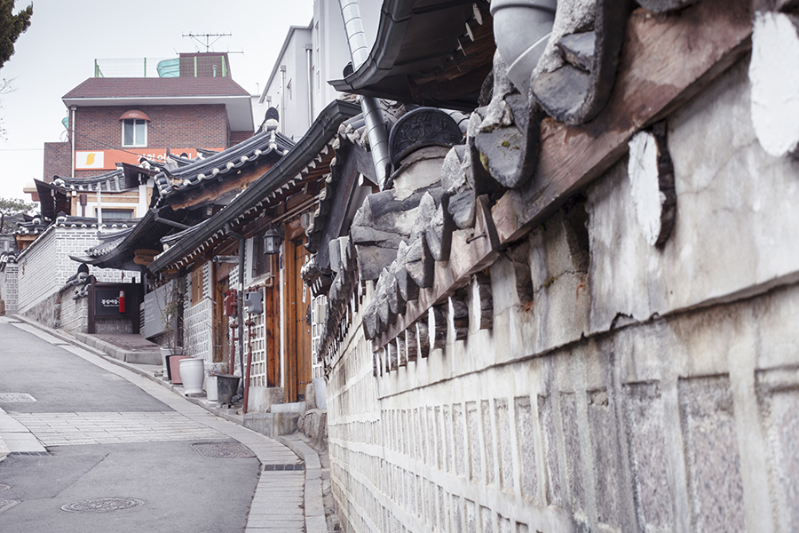 Historical architecture up the slope in Bukchon, South Korea.