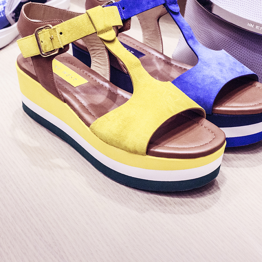 Blue and yellow strappy platform sandals at the Nine West SS15 Collection launch preview at Suntec, Singapore.