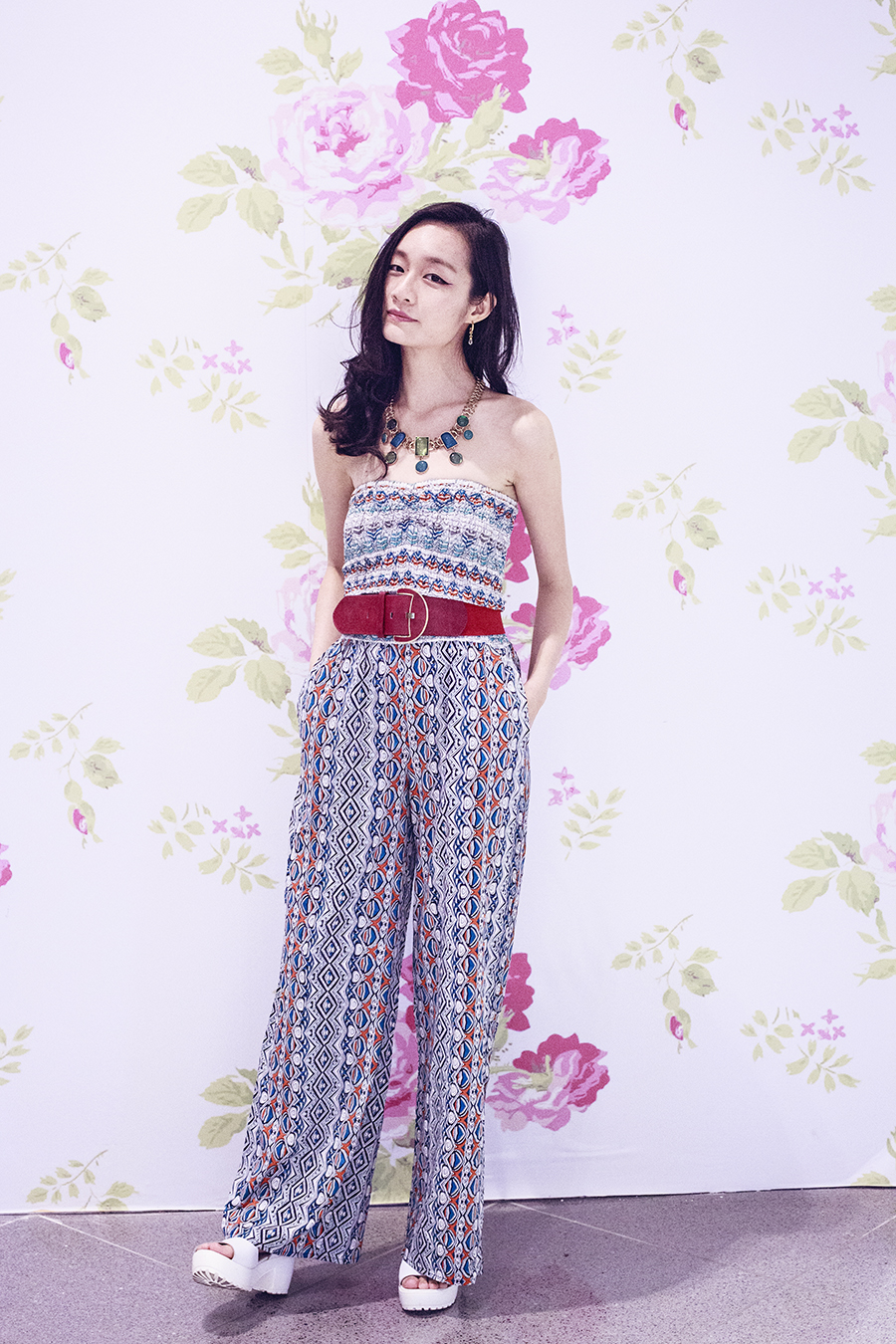 Outfit details for Nine West SS15 Launch: American Rag printed onesie, Accessorize red belt, white platform sandals from Taobao,  Notice Magazine turquoise statement necklace via Chictopia Rewards,.