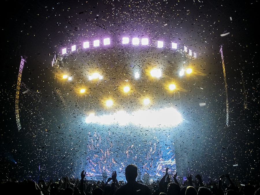 A flurry of confetti bursting from the ceiling for the finale of The Script's performance at the Singapore Indoor Stadium in 2015.