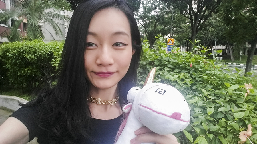 Selfie with my fluffy unicorn from Despicable Me.