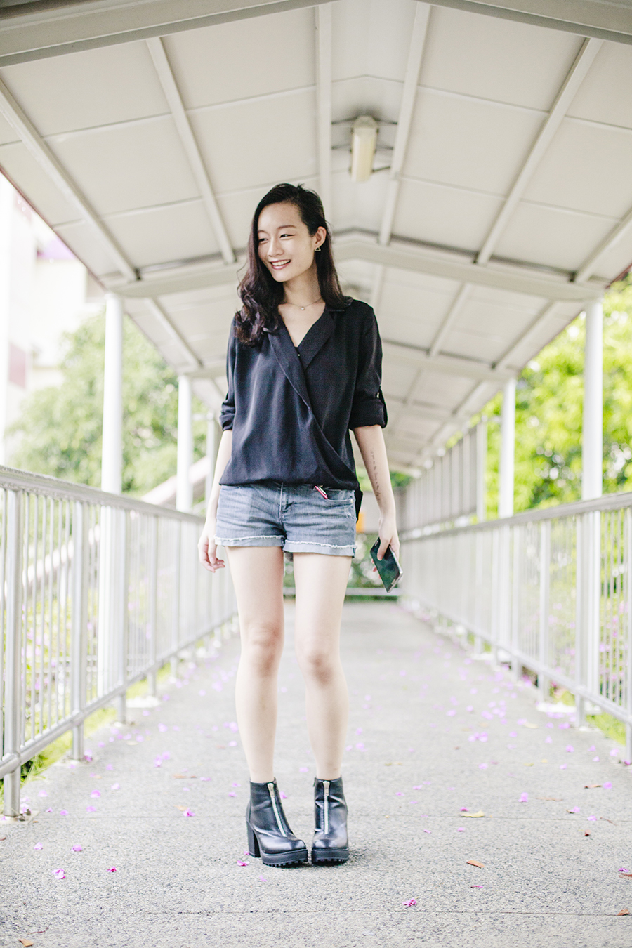 Basic ootd to The Script: Zalia black leaterette collar drape top, Forever 21 denim shorts, Rubi black platform boots.