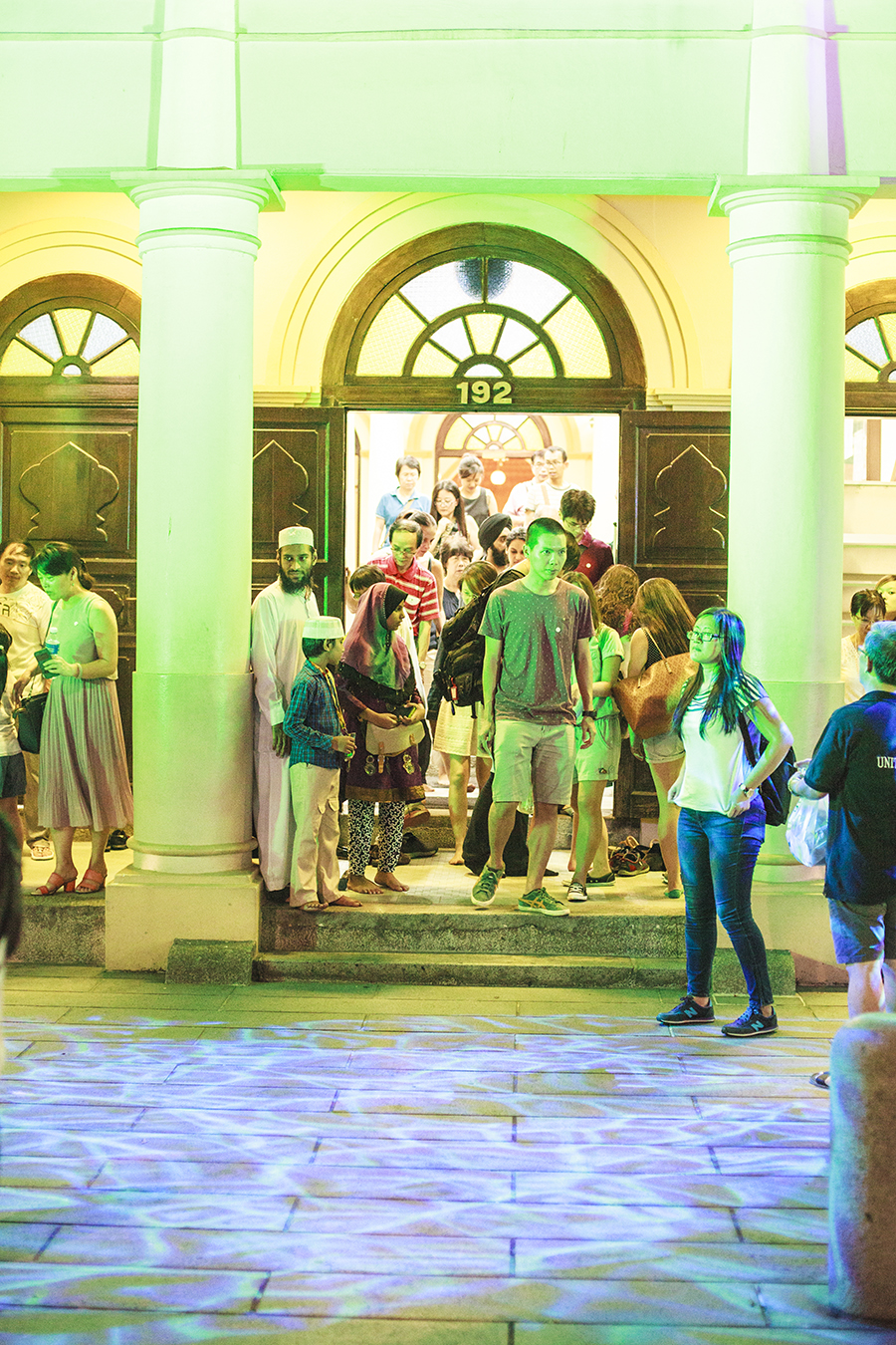 Light-up installation simulating the sea outside a mosque on Telok Ayer street, Singapore.