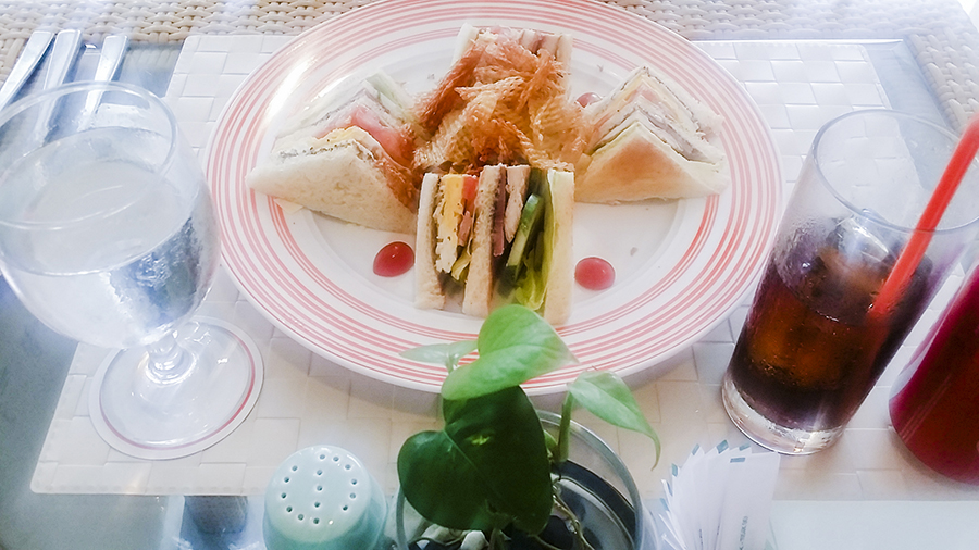 Club sandwich at Harris Waterfront Resort, Batam, Indonesia.