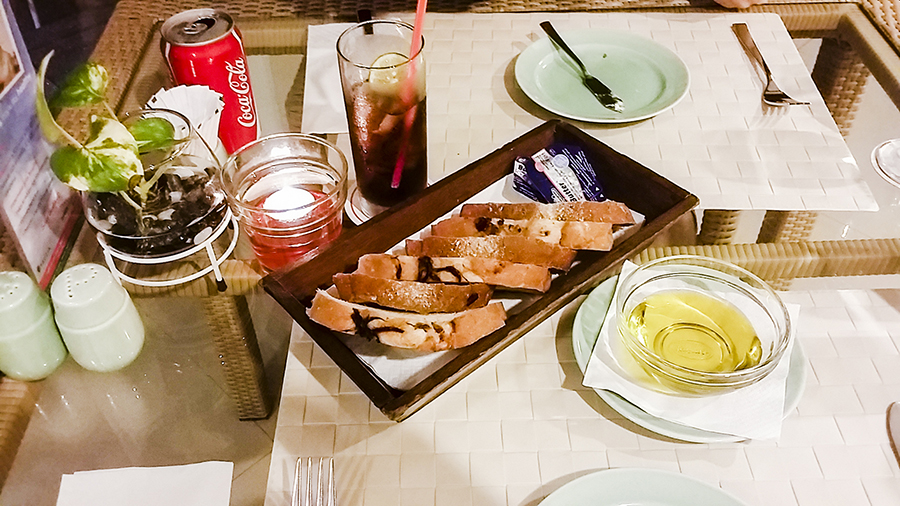 Platter of lightly-toasted white and wheat bread at Harris Waterfront Resort, Batam, Indonesia.
