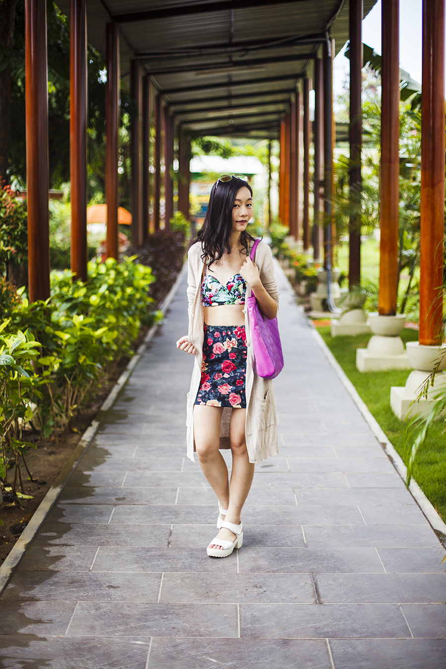 Floral two piece poolside outfit:  Motel Rocks floral bikini top, Forever 21 floral banded skirt, Guess iridescent sunglasses, Taobao white platform sandals, Zara long v-neck cardigan, Osewaya mermaid earrings via JRunway, Nine West purple tote bag.