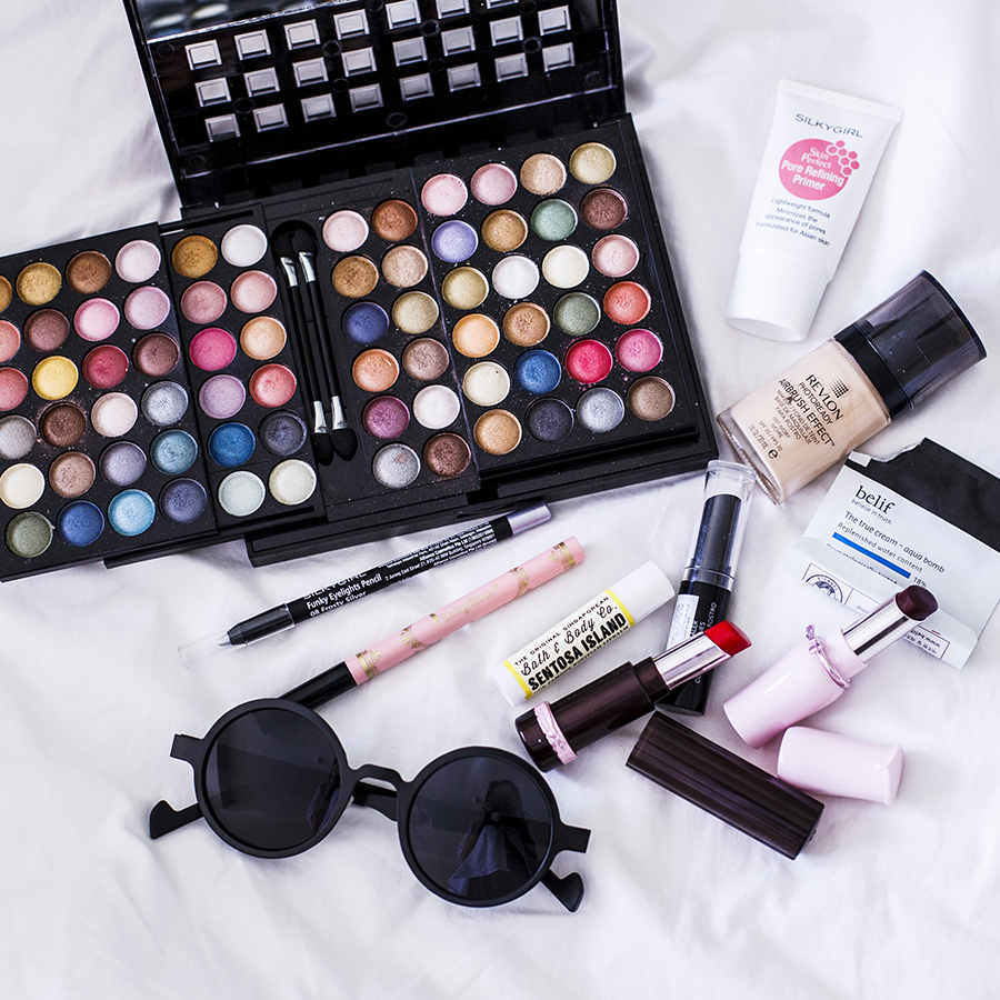 Flatlay of my makeup regime during my holiday to Batam, Indonesia.