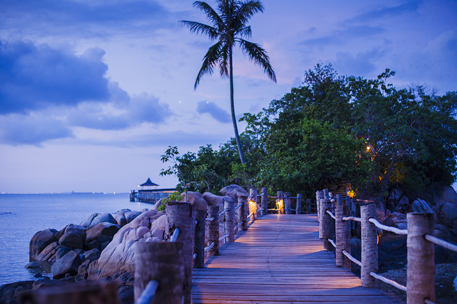 Dusk at Turi Beach Resort, Batam, Indonesia.