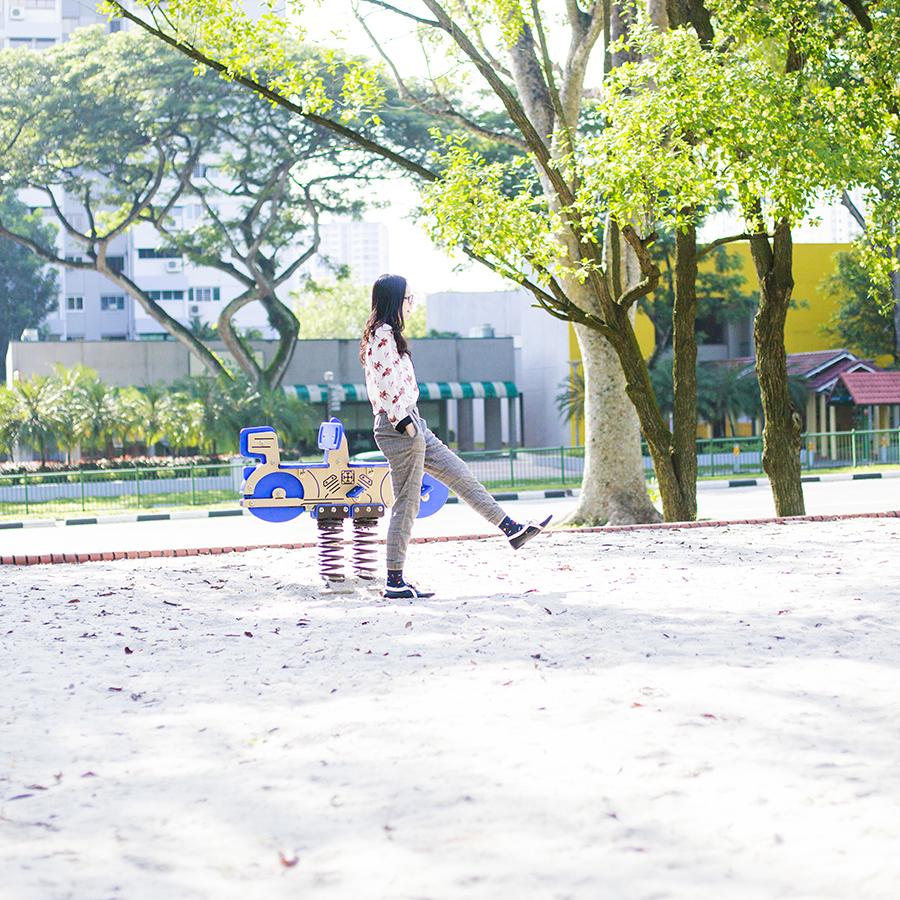 Sandy Playground Outfit: YRBFashion horse shirt, Zara plaid asymmetry pants, Etna superman socks, Zalora Something Borrowed two tone cutout oxford flats, Gap black frame glasses.