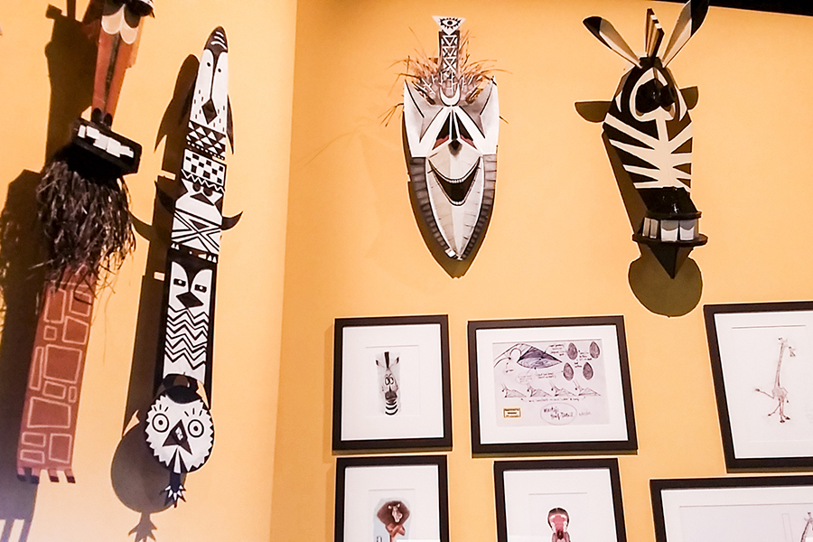 Studies of caricature tribal masks for Madagascar at the DreamWorks Animation: The Exhibition at the ArtScience Museum in Marina Bay Sands, Singapore.