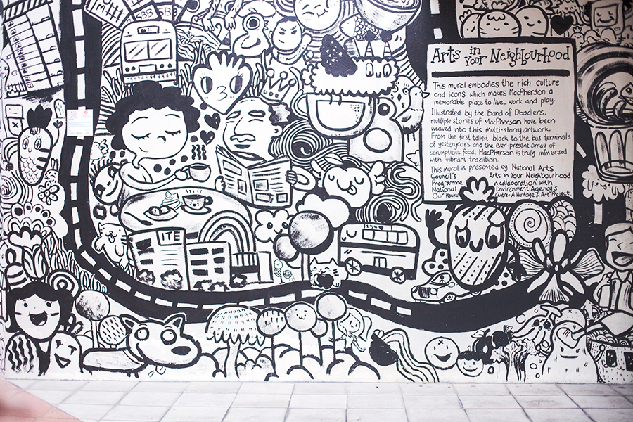 Band of Doodlers wall mural in Macpherson, Singapore.