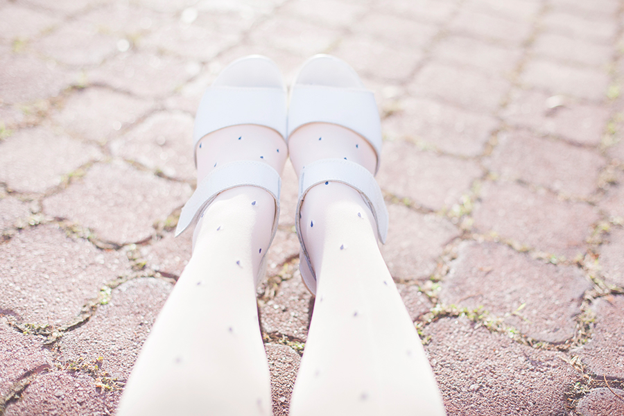 Princess outfit: Sunmill heart print tights from Shanghai, Taobao white platform sandals.