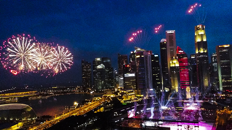 Fireworks at the National Day Parade 2015 dress rehearsal at the Padang.