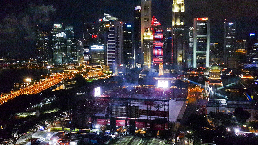 Buildings in the central business participating in the light-up at the National Day Parade 2015 dress rehearsal at the Padang.