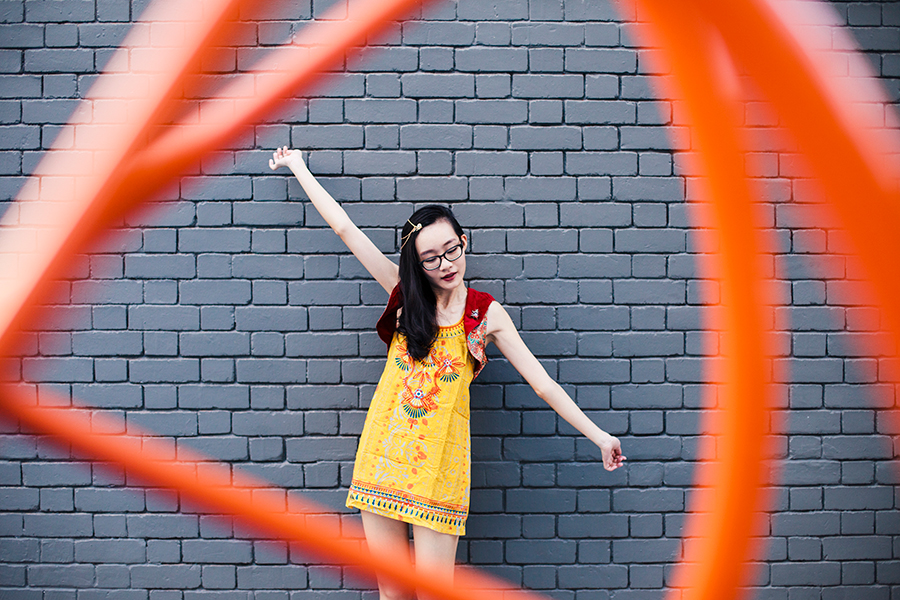 Born of Fire outfit: Irresistible Me Sophia Hair Chain, Forever 21 yellow embroidered tunic dress.
