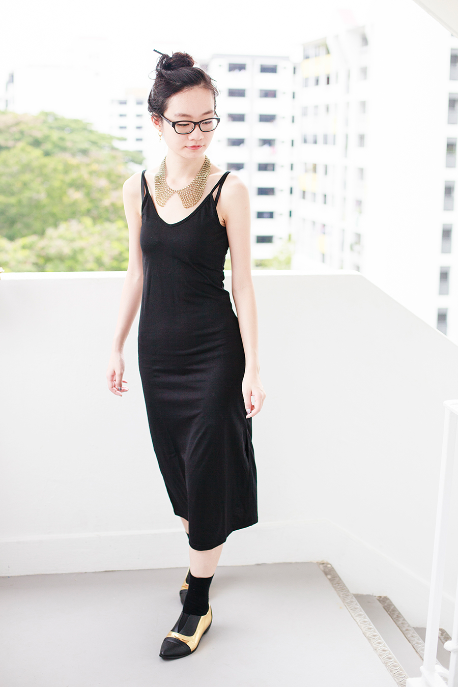 Day to night outfit: Newdress v-neck strappy black dress, Forever 21 gold chain collar necklace, Gap black frame glasses, Taobao black crew socks, Something Borrowed Dual-Toned black and gold Pointed Flats via Zalora.