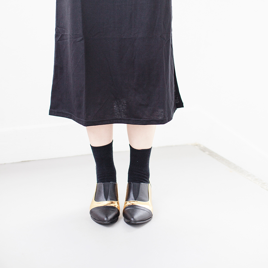 Day to night outfit: Newdress v-neck strappy black dress, Taobao black crew socks, Something Borrowed Dual-Toned black and gold Pointed Flats via Zalora.